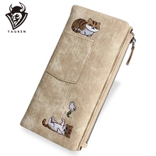 Женский милый джинсовый кошелек с кошкой длинный на молнии брендовый высококачественный чехол для телефона из искусственной кожи женский держатель для карт кошелек