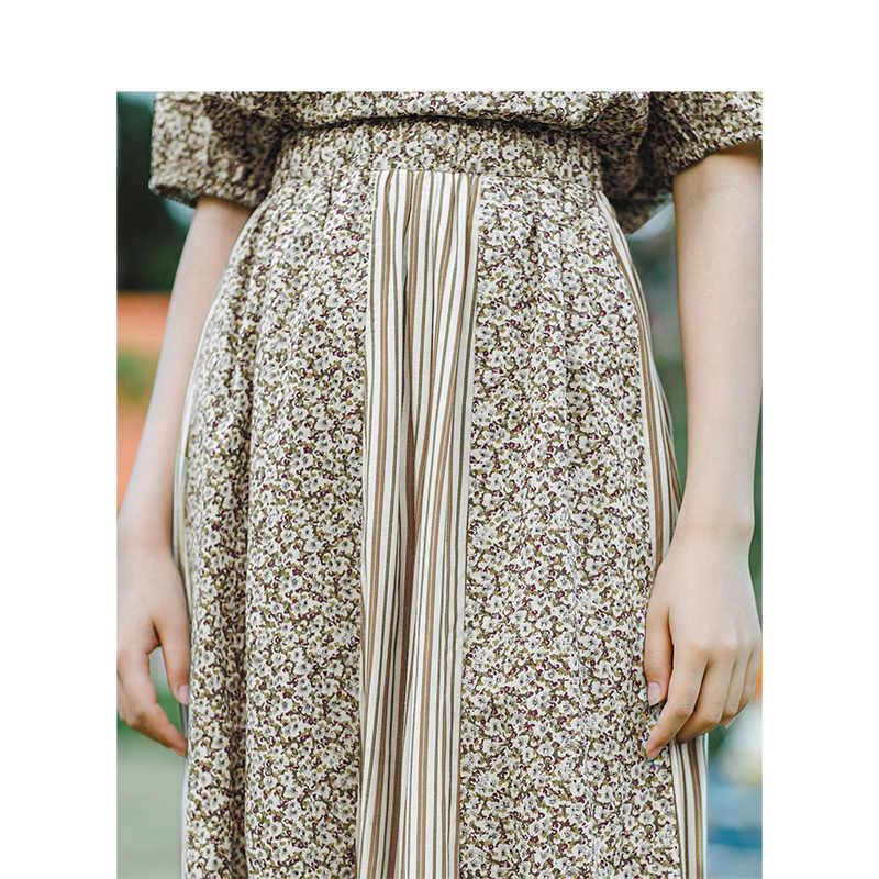 INMAN 2019 lato nowy nabytek wysokiej talii literackie kwiatowy paski Retro w stylu wakacje wszystko dopasowane linii Slim kobiety spódnica