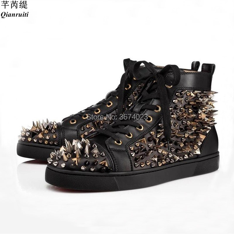 Qianruiti Men Spiked Sneakers High Top