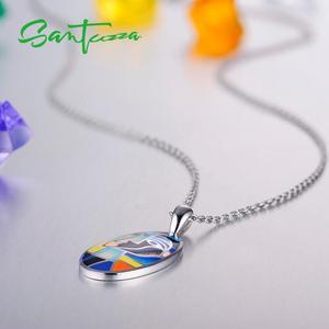 Image 5 - Santuzza Silver Pendants For Women Pendant fit for Necklace 925 Sterling Silver Slide Necklaces Pendant Colorful Enamel Handmade