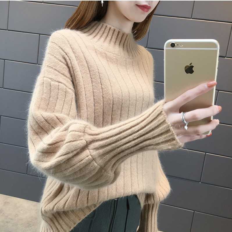 Lantern Sleeve Lazy Wind Mock Neck Sweater Spring And Autumn 2018 New Style Pullover Loose Tide Winter Knitted Bottoming Shirt