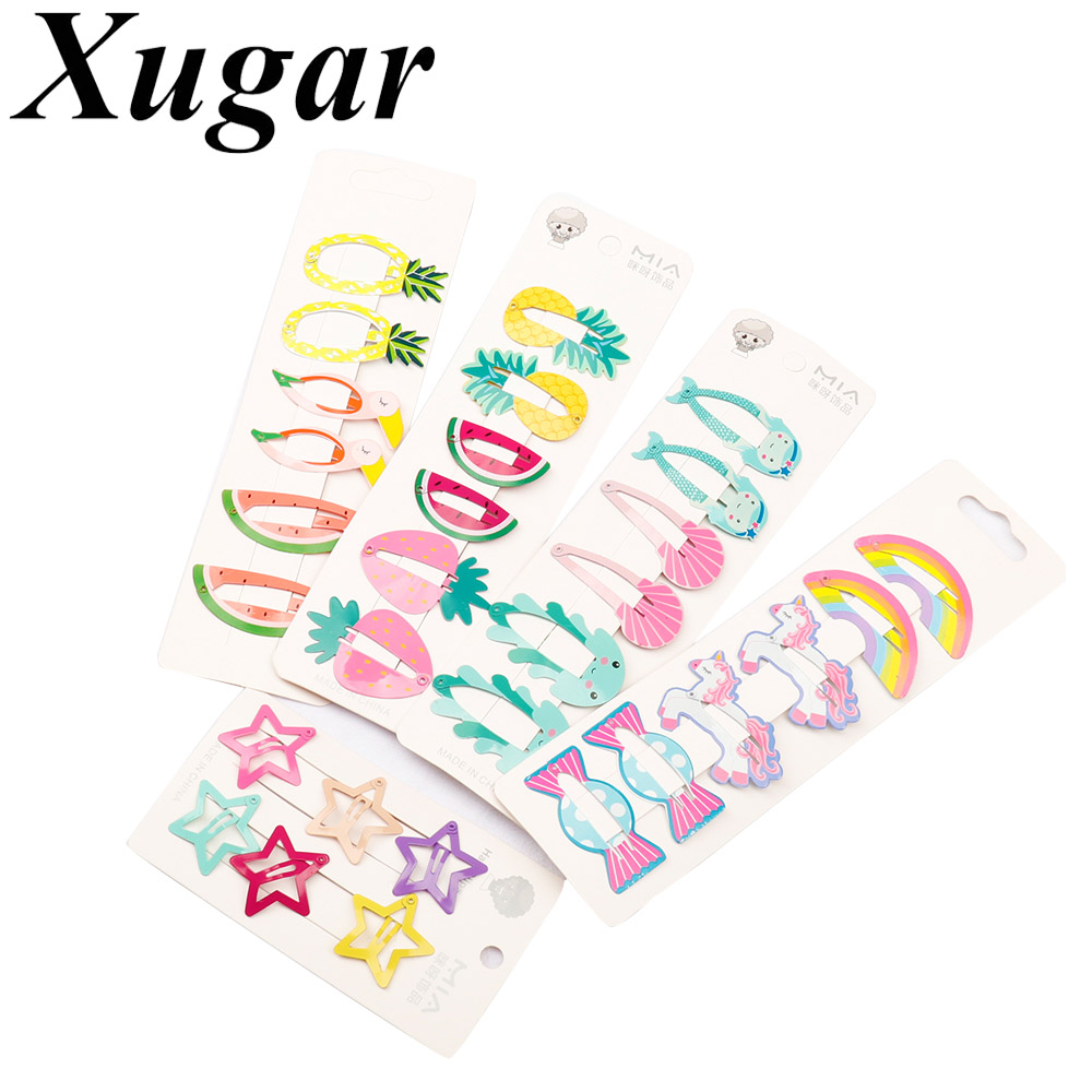 Xugar 6Pcs/lot Hair Accessories Girls Hair Clips Candy Color Cartoon Fruit Hairpins Pentagram Metal Snap Ins Style BB Hair Pins