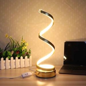 Kreacje projektowanie Spiral nowoczesny stół biurko lampy LED 24 w ciepłe białe światło do sypialni obok lampa domowe lampki dekoracyjne oprawa
