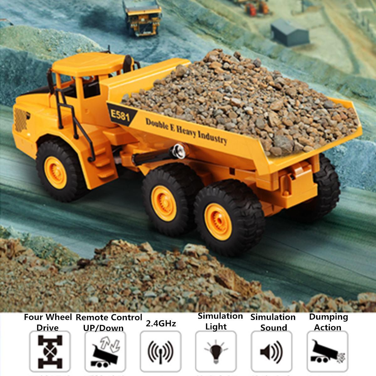 Modèle de camion d'ingénierie électrique en plastique ABS 2.4 Ghz canal RC camion camion à benne basculante télécommandé jouet complet pour enfants garçons