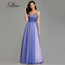 2019 New Fashion A Line Long Summer Dress Women Sexy V Neck Spaghetti Straps Backless Blue Tulle Beach Dress Party Vestidos