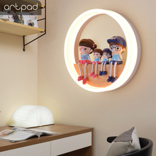 Artpad 19W Metal Frame Bedside Round Wall Lamp With Lovely Cartoon Character Warm White Foyer Bedroom Study Led Light