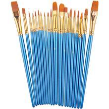 Набор кистей для рисования, 20 шт нейлоновые кисти для волос, акриловая акварель маслом, профессиональные наборы для рисования