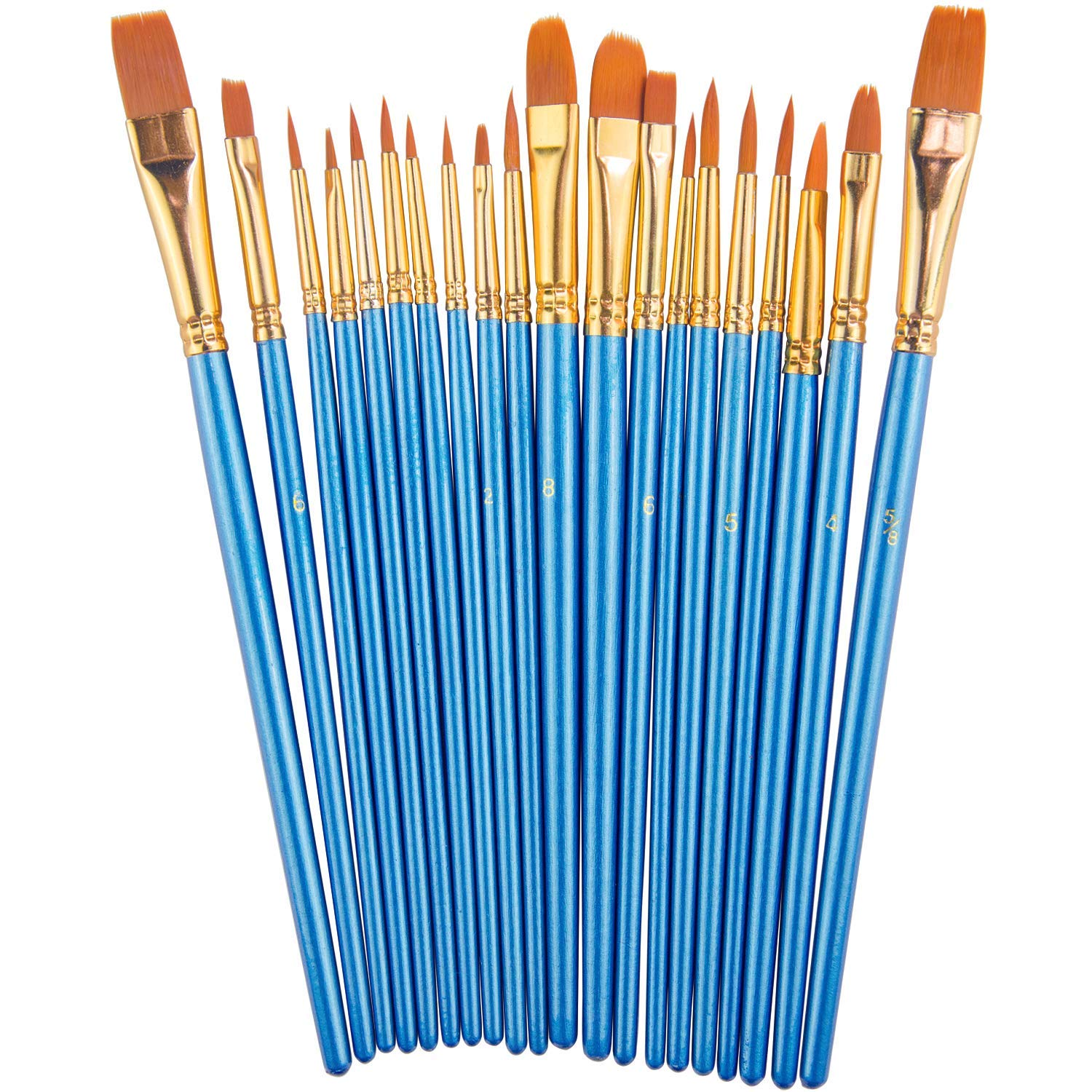 Paint Brush Set By, 20 Pcs Nylon Hair Brushes For Acrylic Oil Watercolor Painting Artist Professional Painting Kits