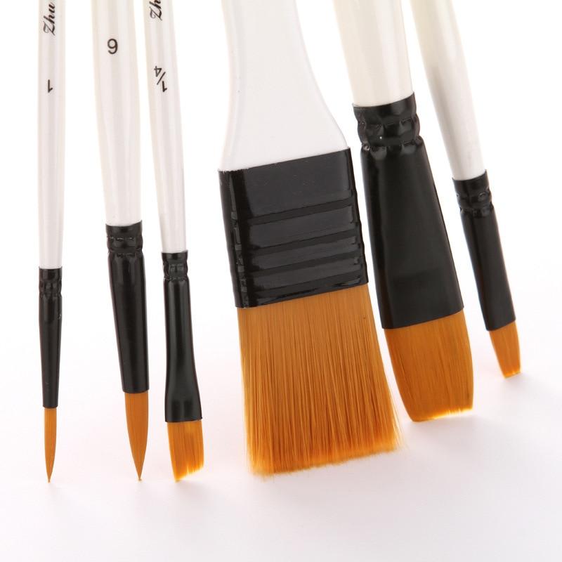 10Pcs Artist Paint Brush Set Nylon Hair F Enamel Acrylic Oil Watercolor Gouache