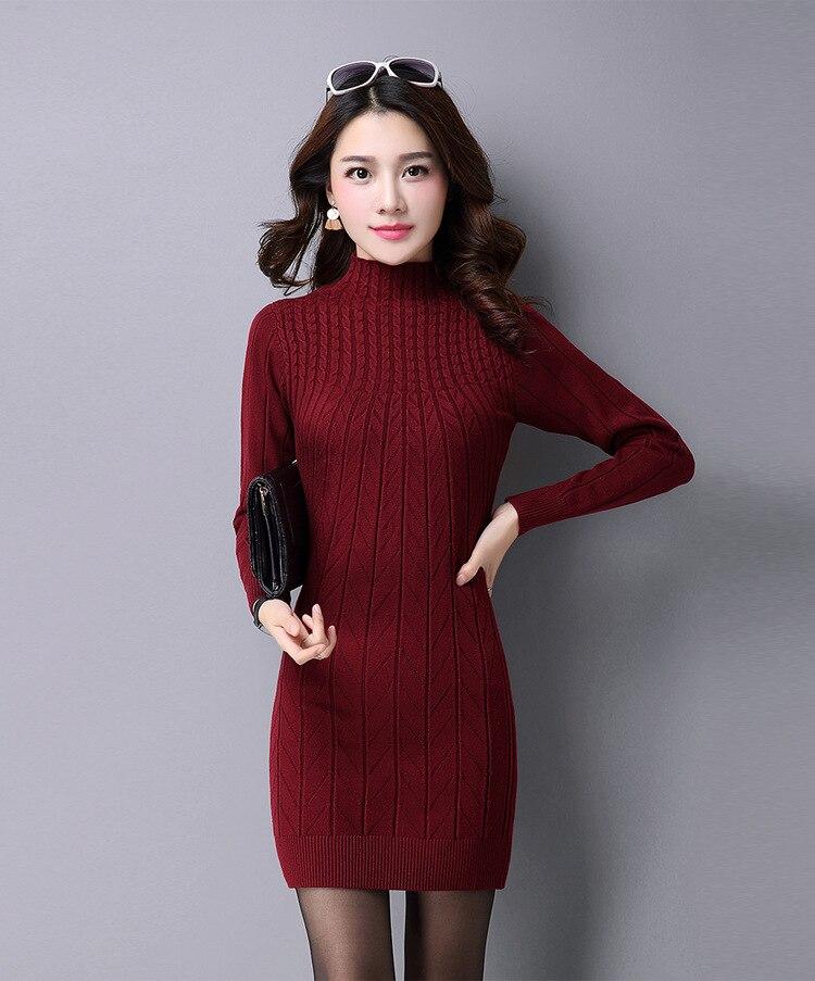 2019 Women Autumn Winter Sweater Dresses Turtleneck Sexy Bodycon Long thickening warm Dress plus size dress S-3XL vestidos