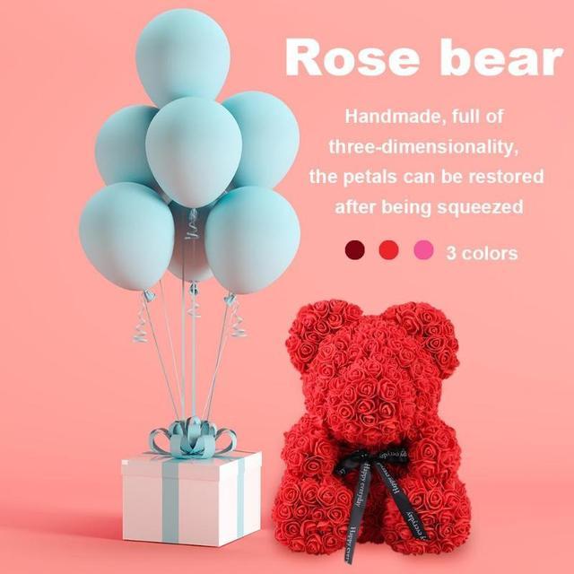 38*30cm Large Rose Bear Wedding Decoration Teddy Bear Flower Anniversary Romantic Valentines Day Gift Birthday Drop Shipping 4