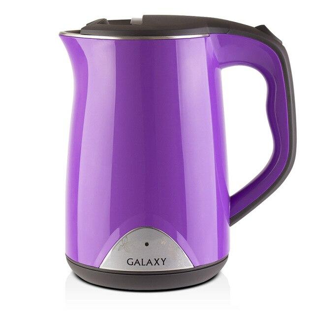 Чайник электрический Galaxy GL 0301 фиолетовый (Мощность 2000 Вт, объем 1.5 л, термоизолированный корпус, вращение 360°, Автоотключение при отсутствии воды)