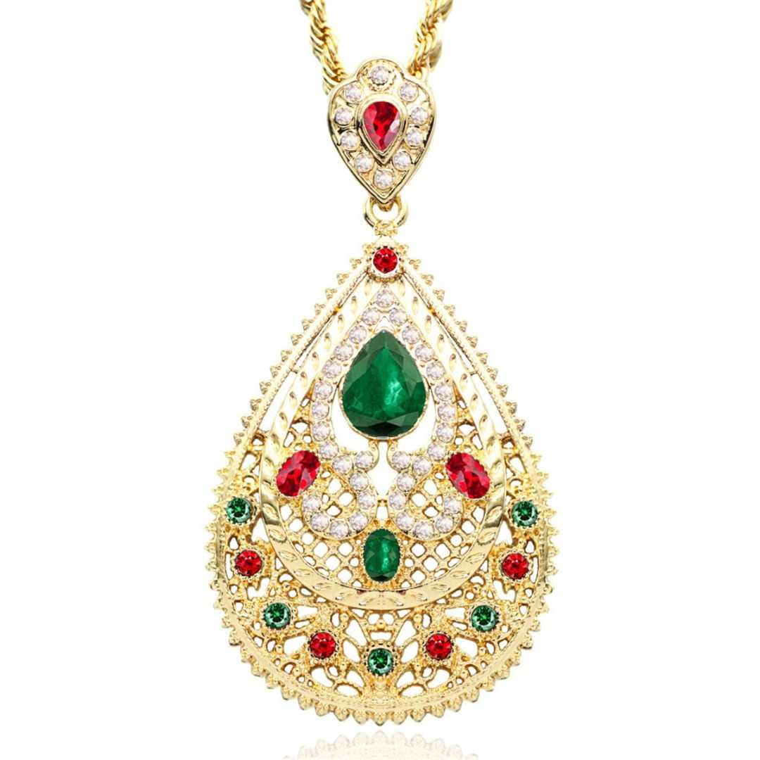 Arab Moroccan Style Chain Necklace Luxury Shiny Red Green Crystal Waterdrop Pendant Necklace Shellhard Statement Jewelry
