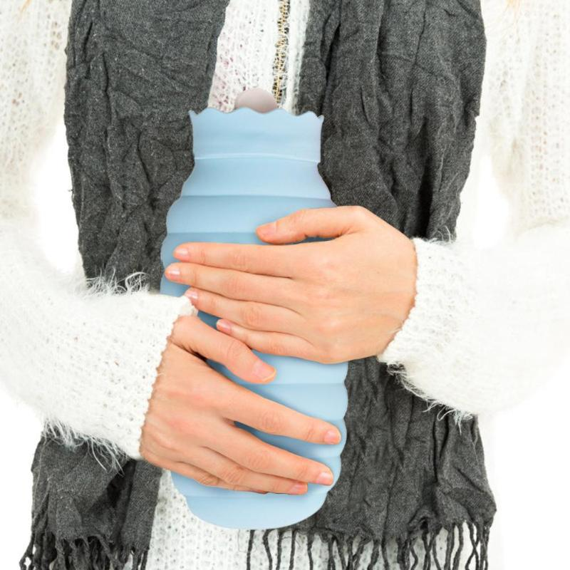 313/620ml Hot Water Bag Microwave Heating Silicone Hot Water Bottle Hand Warmer Winter Heater With Knitted Cover Warmer