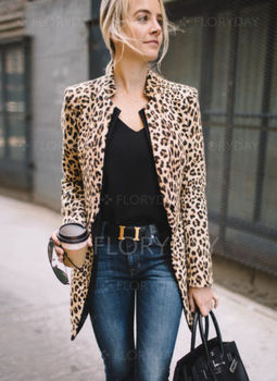 Fashion Women Leopard Print Sexy Winter Warm Wind Coat Cardigan Coat Ladies Leopard Chic Long Sleeve Jackets Female Clothing jeans con blazer mujer