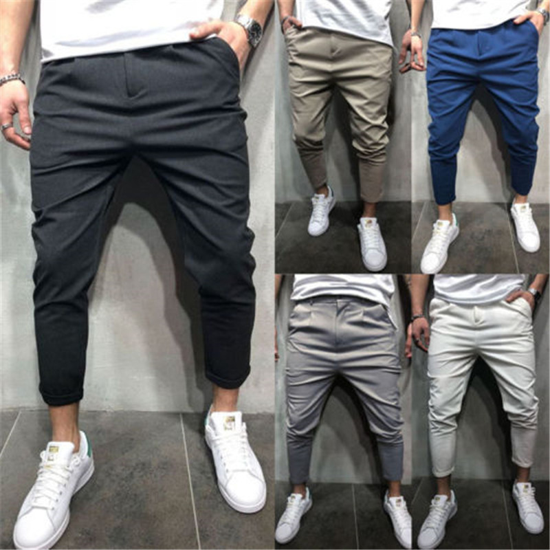 Men's Clothing Official Website Us New 5 Color Urban Men Straight Casual Pencil Pants Slim Fit Trousers Outwear Hot Joker Straight Leg Pants Quality And Quantity Assured