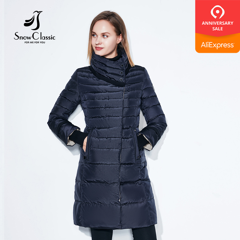 SnowClassic winter jacket women free scarf Slim Coats Female Warm Parka thick Outwear soft bio down