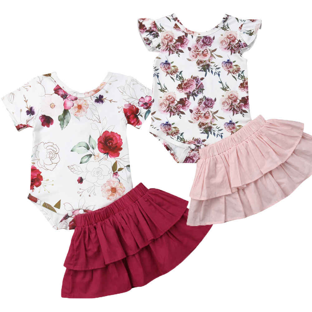 72c0b9476 Detail Feedback Questions about Newborn Infant Baby Girl 2PCS Outfits  Clothes Set Flower Romper Bodysuit Ruffle Mini Skirts Summer Baby Clothing  on ...