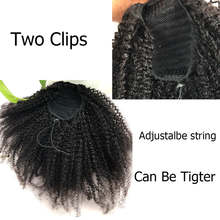 Afro Kinky Curly Ponytail For Women Natural Color Remy Hair 1 Piece Clip In Ponytails Drawstring Brazilian Human Hair(China)