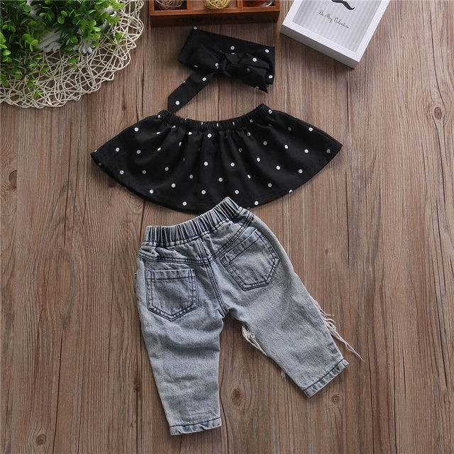 Summer Fashion Toddler Baby Girls Clothes Dot Sleeveless 3pcs Tops+Hole Jeans Outfits Casual Clothes 0-3Y Girls Clothes Baby 1