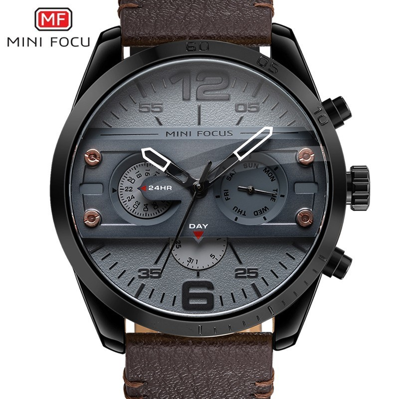 MINIFOCUS Man Watch 2019 Leather Military Men's Watch For Men Luxury Casual Mens Watches Quartz Top Brand Luxury Male Clock Date