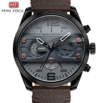 MINIFOCUS Man Watch 2019 Leather Military Men's Watch For Men Luxury Casual Mens Watches Quartz Top Brand Luxury Male Clock Date dom men watches top brand luxury quartz watch casual quartz watch black leather mesh strap ultra thin fashion clock male relojes