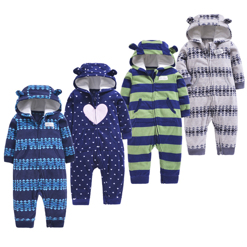 Spring Autumn Baby Coveralls Fleece Single-Layer Warm Baby Hooded Double Zip One-Piece Climbing Clothes Baby Rompers