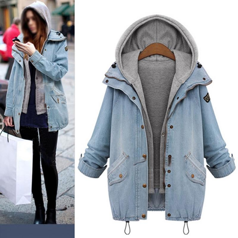 MISS M Autumn Winter Women Two Piece Suit Fashion Casual Women   Basic     Jacket   and Coats Denim Jeans Large Sized Women Coats