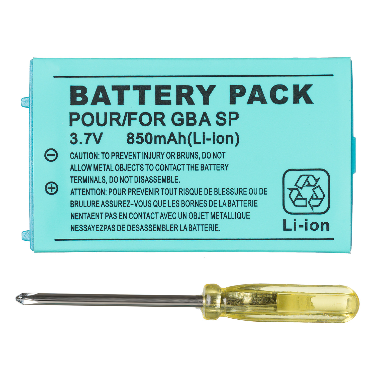 850mAh Rechargeable Lithium-ion Battery + Tool Pack Kit for Nintendo Gameboy Advance GBA SP