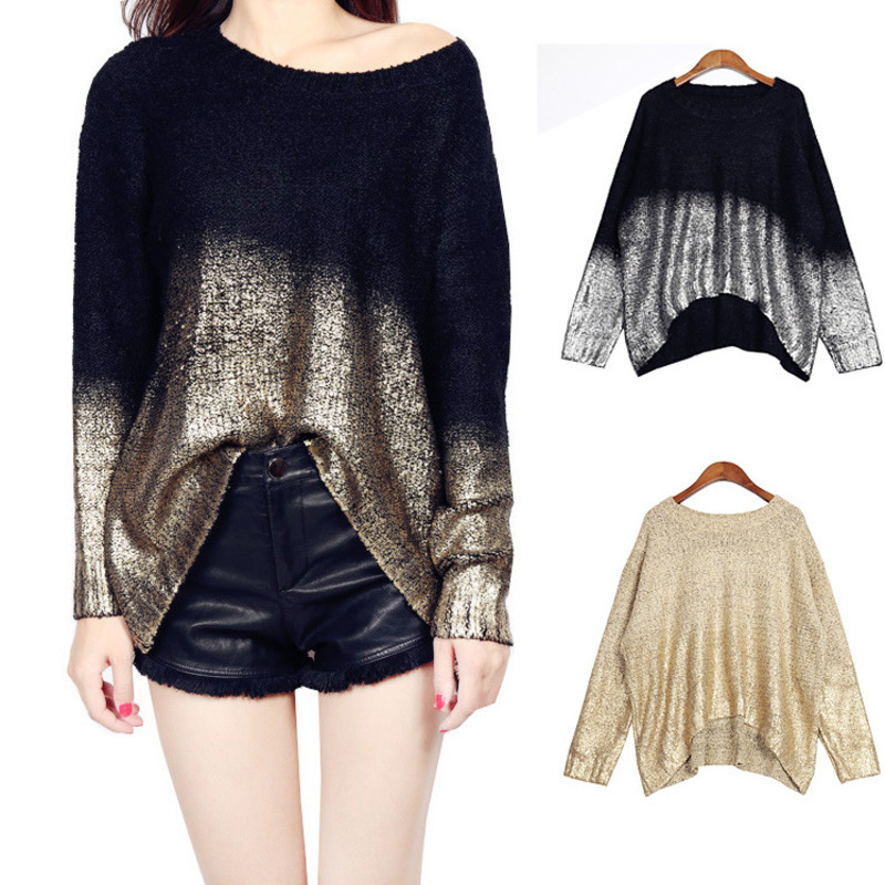 Autumn Winter Womens Pullovers And Sweaters Vintage Bronzing Golden Sliver Color Sweater Retro Loose Knit Jumper Knitwear Tops