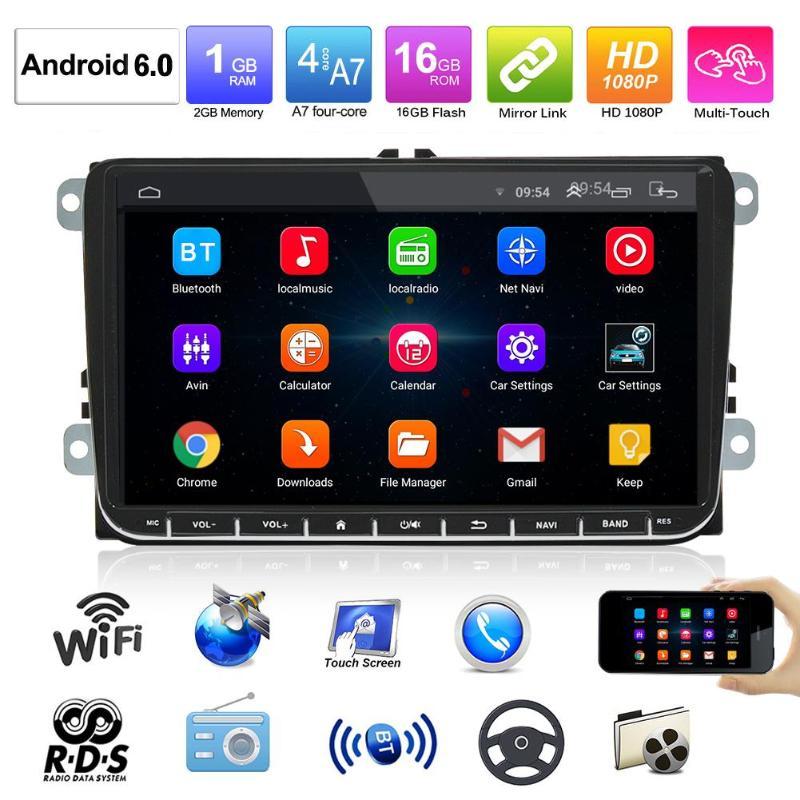 9in Android 6.0 autoradio lecteur MP5 GPS Navi AM FM Radio WiFi Bluetooth pour Passat Golf MK5 MK6 T5 EOS POLO Touran Seat Sharan