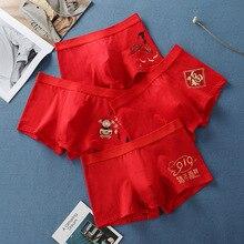1582cd3db Homem Cueca de Algodão Calças De Neve Porco Bierdan Red Cuecas boxer boxers  roupa interior dos