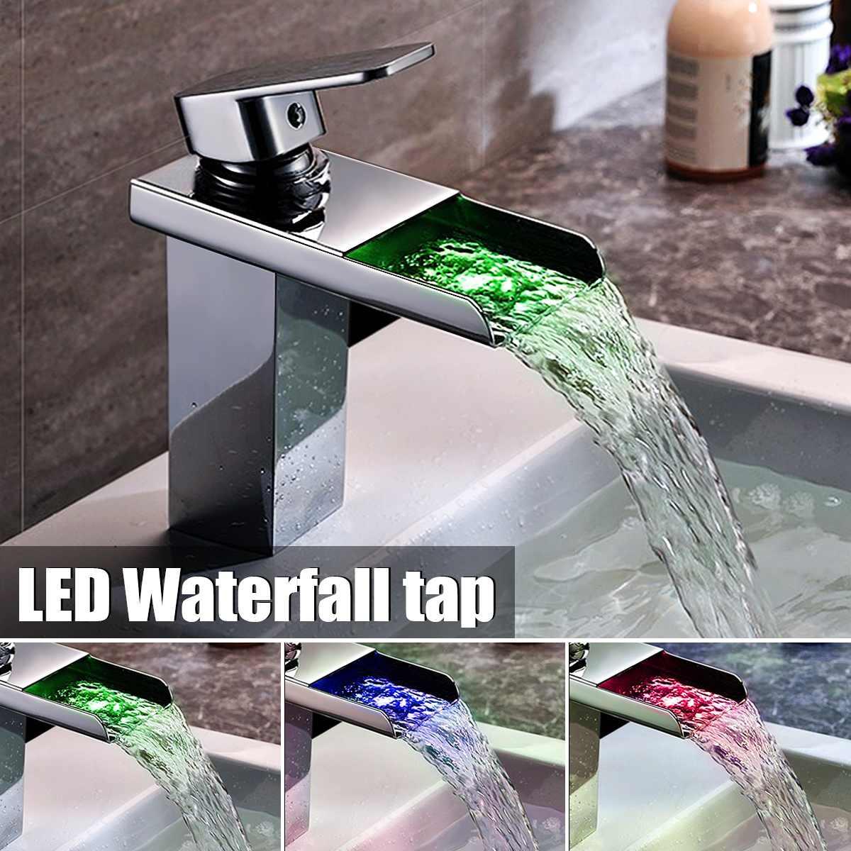 LED changement de couleur cascade bassin robinet Chrome poli mitigeur robinet salle de bain évier froid et chaud mitigeur