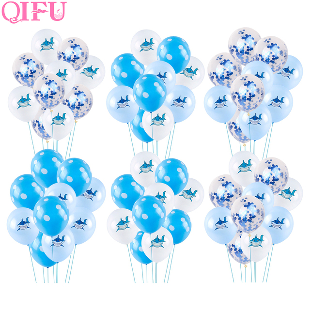 QIFU 10pcs Blue Birthday Balloons Air Animal Ballons Decoration Baby Shark Party Decorations Kids