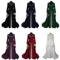Ramadan Abaya Muslim Women Party Dress Vintage Long Robe Cocktail Gown Middle East Turkish Oman UAE V neck Swing Dresses Fashion