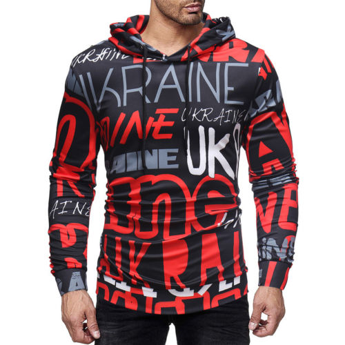 New Men Letter Print Hoodie Sweatshirt Sweater Hooded Tops Jacket Coat Outwear Pullover XN