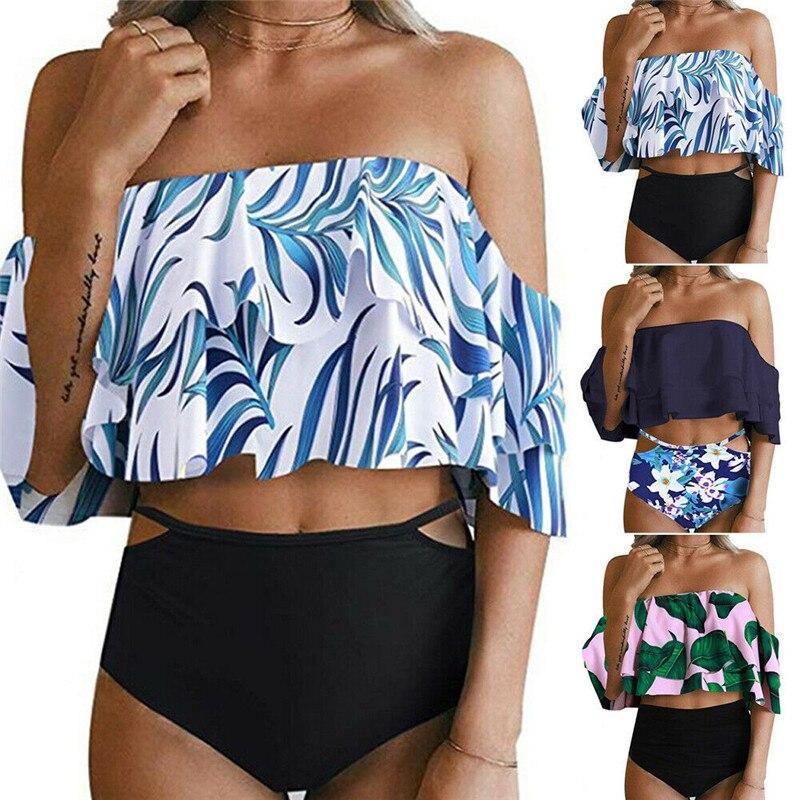 2019 Marca Babados Colheita Top Beachwear Off Ombro Ternos Two-Piece Mulheres Set Bikini Sexy Swimsuit Swimwear Banho Do Vintage terno