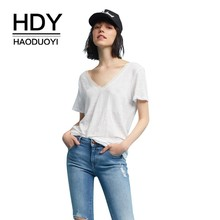 HDY Haoduoyi 2019 New Summer Women Fashion T-shirt Simple Loose Wild Deep V-collar Collage Chest Pure Color Sexy