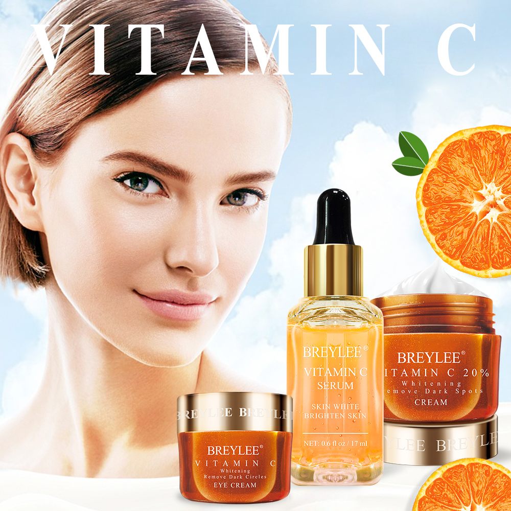 New BREYLEE Vitamin C Whitening Set Face Serum Eyes Cream Facial Cream Remove Dark Circles Fade Freckles Spots Melanin Skin Care