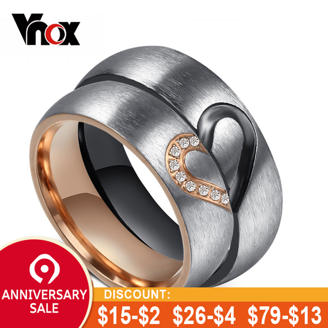9f9f691619 Vonx 1Pair His & Hers Love Heart Wedding Promise Rings Set Stainless Steel  Couples Engagement Bands