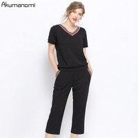 2piece Set Women V neck Pullover Short Sleeve Top Calf Length Pants Summer Plus Size 5xl l Sweatshirt Tracksuit 2pcs Set Women