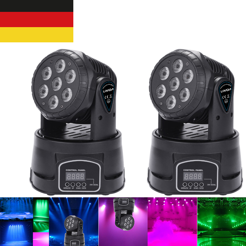 DJ Disco Light 7LED 105W RGBW 9/14 Channel  Disco Lamp DMX512 Mini Rotating Head Moving Stage Light Effect Lamp For Disco Show