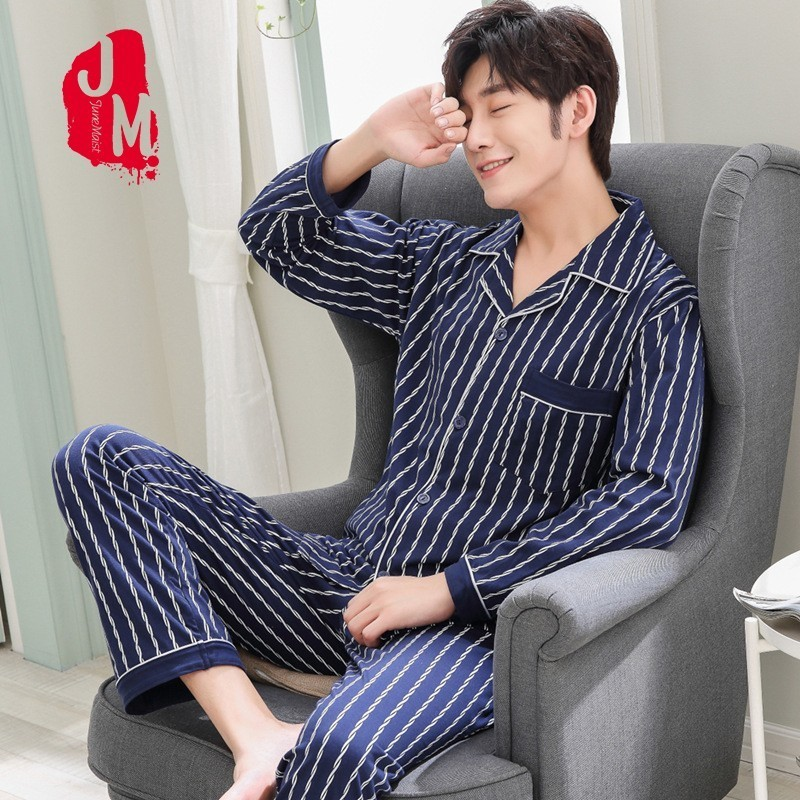 Spring Pyjama Men Set Cotton Autumn Pijama Men Suit Long Sleeve Solid Pajama Man Turn-down Collar Two Piece Pajama Male L-XXXL