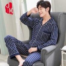 купить Spring Pyjama Men Set Cotton Autumn Pijama Men Suit Long Sleeve Solid Pajama Man Turn-down Collar Two Piece Pajama Male L-XXXL по цене 453.26 рублей