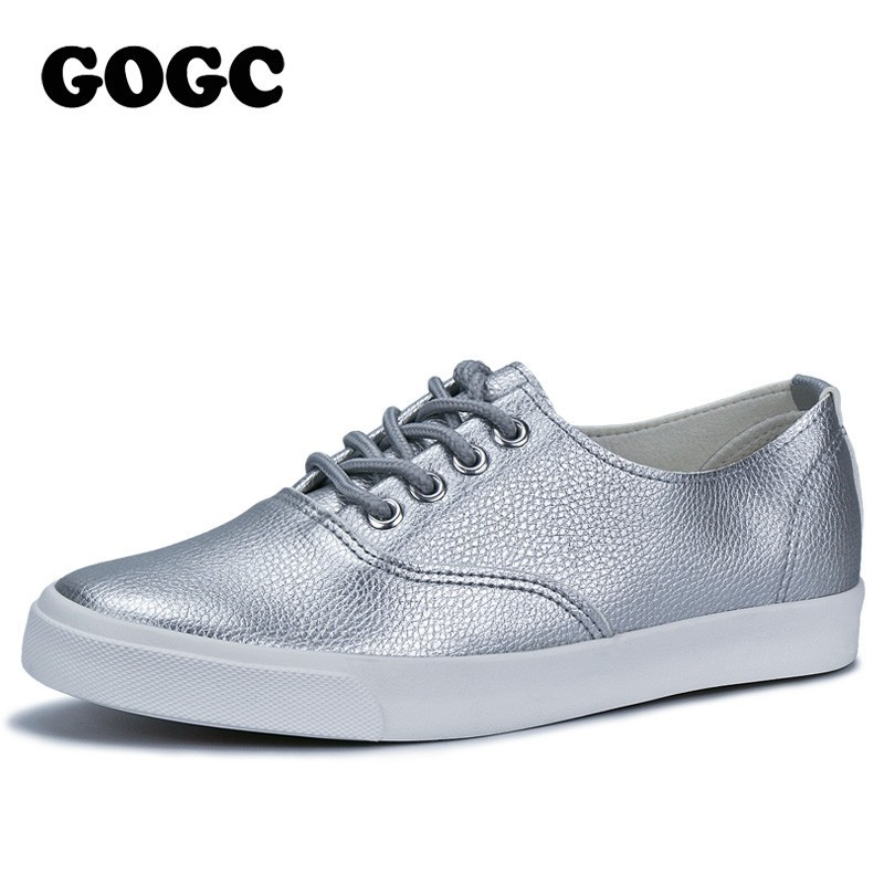 GOGC Flat Shoes Women Breathable Women Sneakers Footwear High Quality Silver Black White Women Flats Casual Shoes Slipony 889