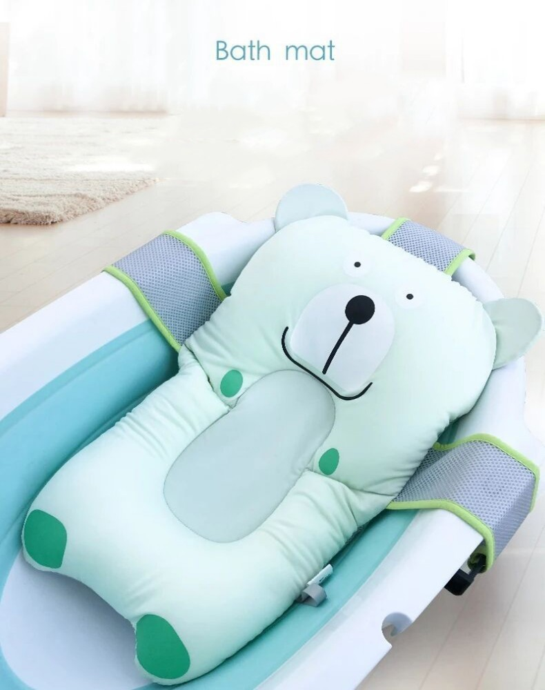 Cute Cat Dog Shower Portable Air Cushion Bed Infant Baby Path Pad Non-Slip Bathtub Mat NewBorn Safety Security Bath Seat Support