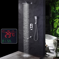 SKOWLL LCD Set Rain Shower Head 3 way Handshower Digital Display Mixer Tap Bathroom wtih LED Faucet Shower System