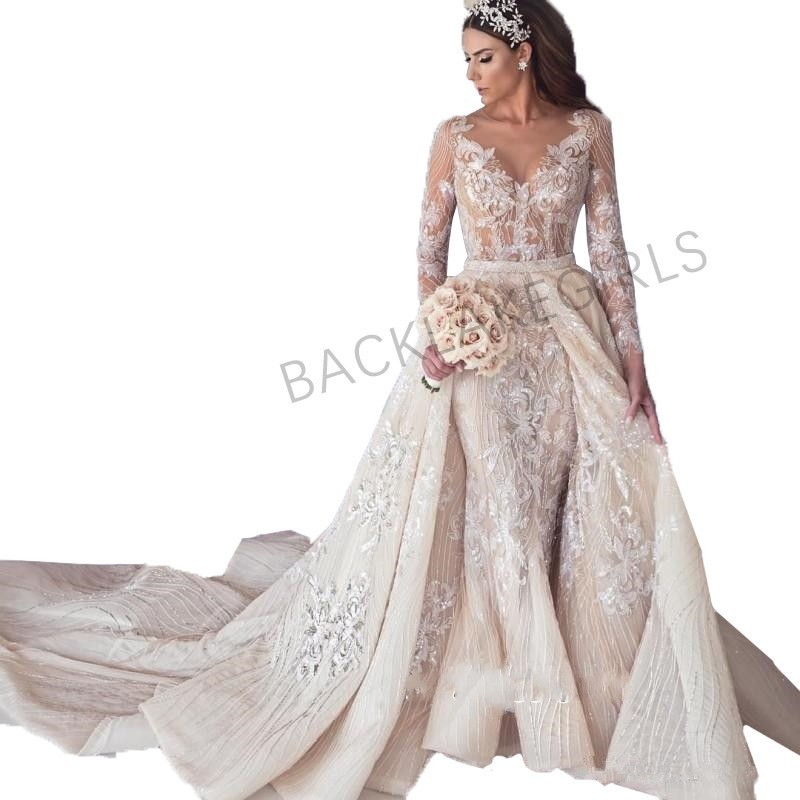 Luxury Newest Wedding Dresses Detachable Train 2019 Long Sleeve Tulle Beaded Bride Wedding Gown V-neck