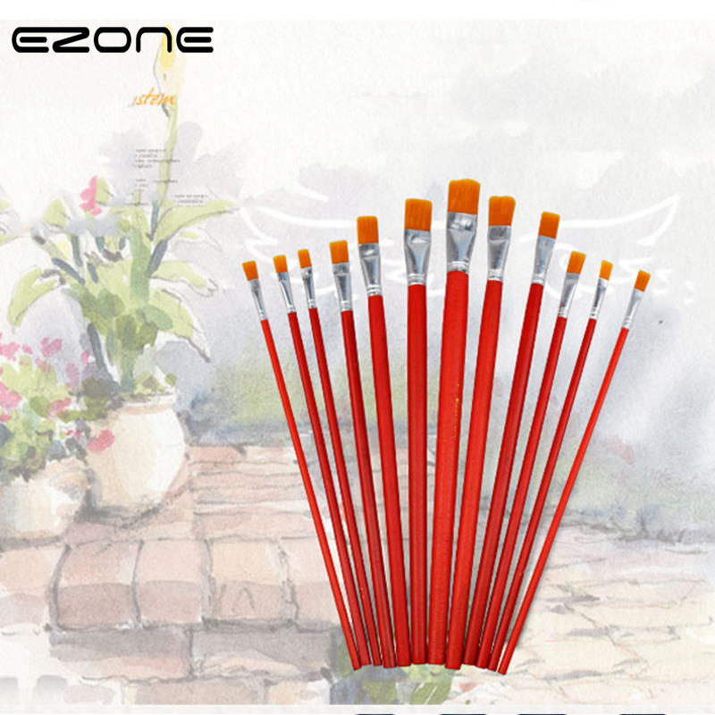 EZONE 1PC Red Rod Nylon Hair Painting Brush For Oil Painting Flat Hair Brush Art Sthdents Painting Stationery Wash Painting Pen