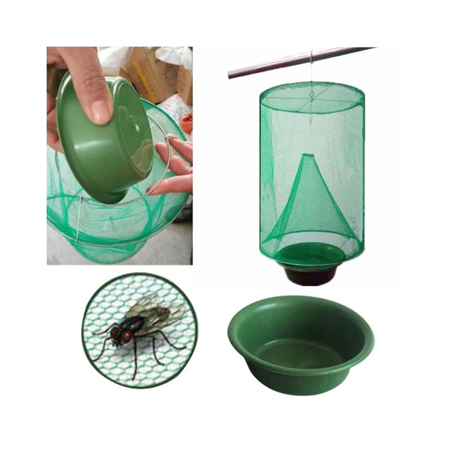 1PCS Pest Control Reusable Hanging Fly Catcher Killer Flies Flytrap Zapper Cage Net Trap Garden Home Yard Supplies 1